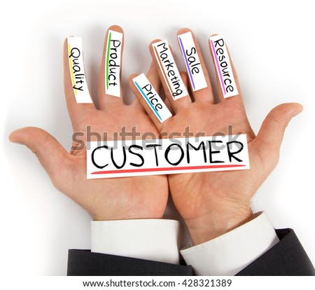 Photo of hands holding paper cards with CUSTOMER concept words - stock photo