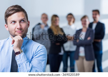 Photo of handsome man and career in business corporation - stock photo