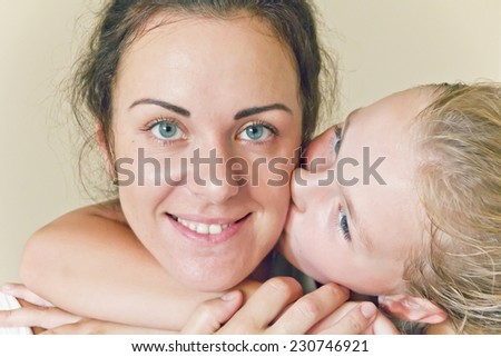 Photo of happiest family mother and daughter - stock photo