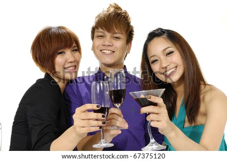 Photo of happy friends holding glasses of wine, - stock photo