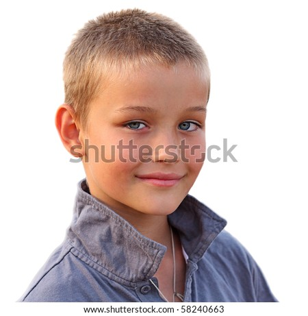 Photo of happy young boy looking at camera on white background - stock photo
