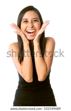 Photo of Happy Young Caucasian / Asian Woman Happy / Winning. Depicting Success, Surprise, or Victory. Isolated on White Background. - stock photo