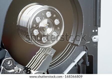 Photo of hard drive on white background - stock photo