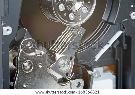 Photo of hard drive on white background