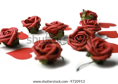 Photo of hearts and roses - stock photo