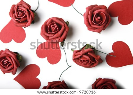 Photo of hearts and roses. St. Valentine's Day Theme. - stock photo