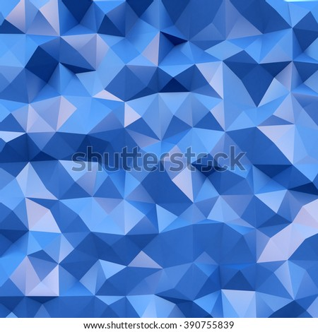 Photo of highly detailed multicolor polygon. Blue geometric rumpled triangular polygons style. Square. 3d render