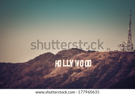 Photo of Hollywood sign in Los Angeles taken at sunset from Griffin Park, CA - stock photo