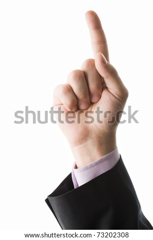 Photo of human hand with forefinger pointing upwards - stock photo