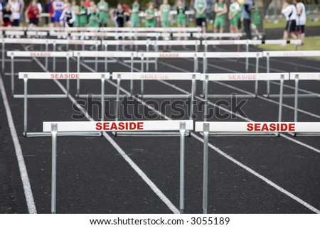 Photo of hurdlers waiting for the starting gun.