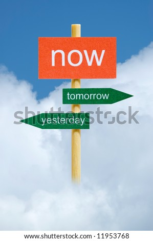 Photo of imitation direction board on time management concept - stock photo