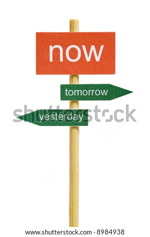 Photo of imitation signboard on time concept, isolated - stock photo