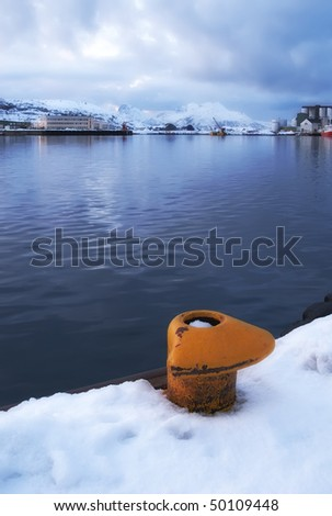 Photo of industry at sunset North of the Polar Circle - stock photo