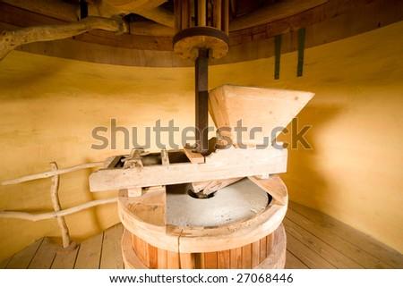 Photo of interior of brick windmill in Europe - stock photo