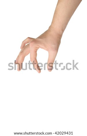 photo of isolated hand holding object - stock photo
