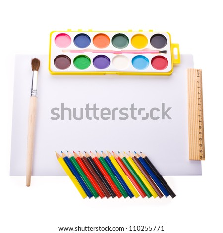Photo of Items for school student gear over isolated  white background -  Back to school concept , The new school year