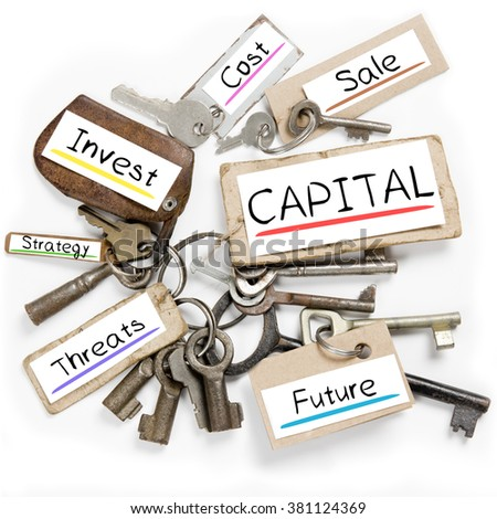Photo of key bunch and paper tags with CAPITAL conceptual words - stock photo