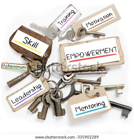 Photo of key bunch and paper tags with EMPOWERMENT conceptual words - stock photo