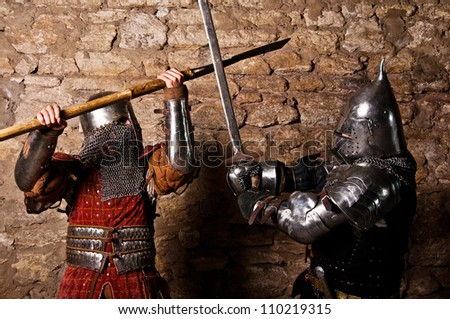 Photo of knights who fight - stock photo
