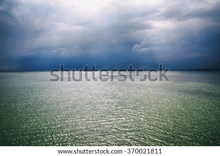 Photo of Landscape of Dark Stormy Sea Background - stock photo