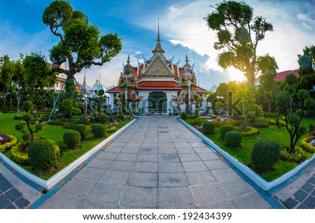 Photo of Landscape Wat Arun Buddhist religious places of importance to the field,Photo taken fisheye lens - stock photo