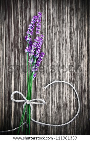 Photo of lavender flower on wooden textured grey background, bouquet of fresh purple flowers with bow on grunge gray tree backdrop, floral border, aroma therapy, herbal medicinal treatment - stock photo