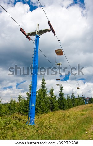 Photo of lift against the blue sky on the background
