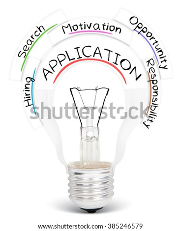 Photo of light bulb with APPLICATION conceptual words isolated on white - stock photo