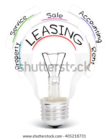 Photo of light bulb with LEASING conceptual words isolated on white - stock photo