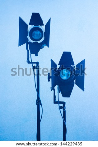 Photo of light equipment  in blue tones - stock photo