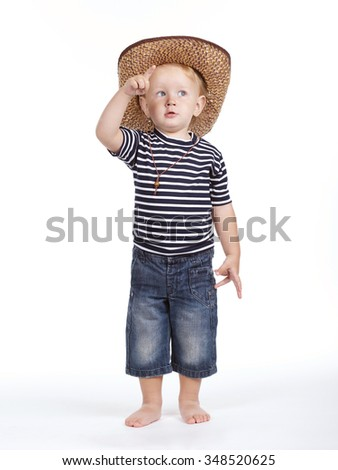 photo of little cowboy on white background