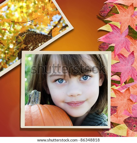 Photo of little girl over a background with colorful autumn leaves. - stock photo