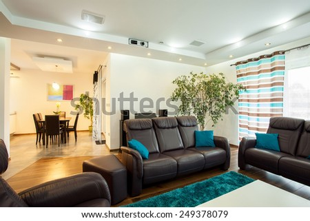 Photo of luxury modern interior of big house