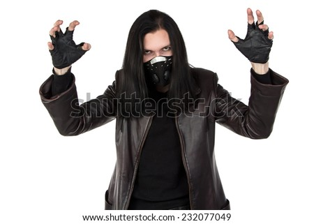 Photo of man in mask with open hands on white background - stock photo
