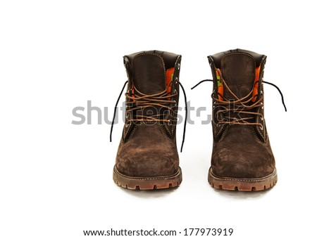 Photo of man's boots. Isolated on white background - stock photo