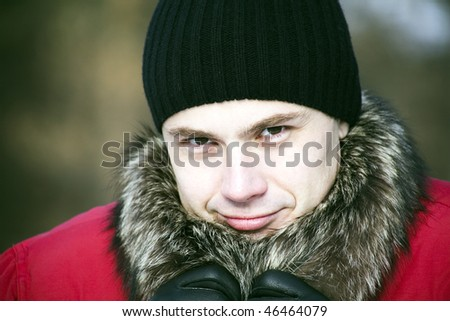 Photo of man wearing in winter clothes