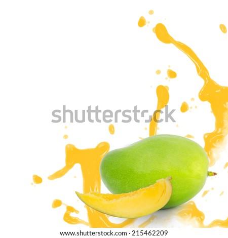 Photo of mango with slice and splash isolated on white - stock photo