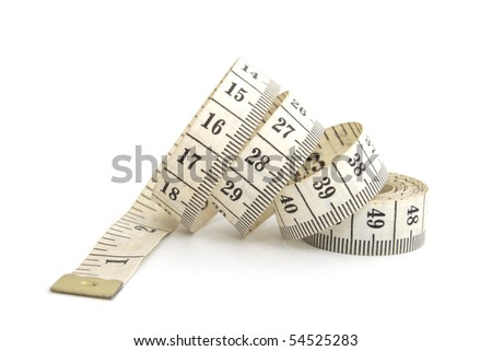 Photo of measuring tape isolated on white background - stock photo