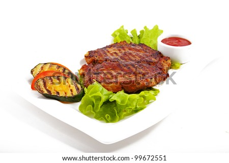 Photo of meat with vegetables - stock photo