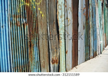 Photo of metal texture of corrugated tin wall - stock photo