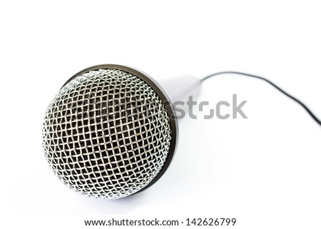 Photo of Microphone with black wire isolated on white - stock photo