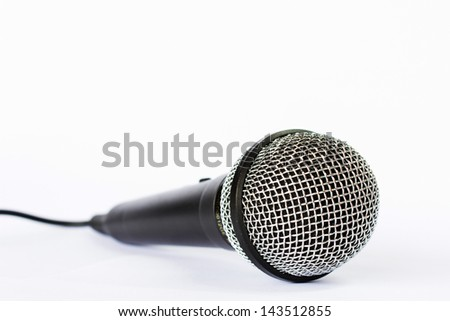 Photo of Microphone with black wire isolated on white