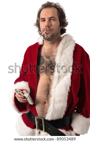 Photo of middle-aged adult man dressed in Santa clothes, smoking and holding alcohol flask. - stock photo