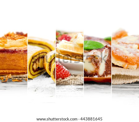Photo of mix stripes with cakes, desserts and sweets; white space for text - stock photo