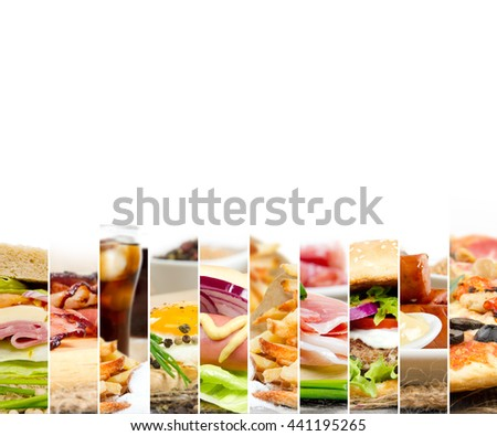 Photo of mix stripes with various kinds of fast food and drinks; white space for text - stock photo