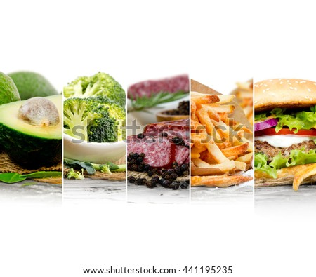Photo of mix stripes with various kinds of healthy and unhealthy food; white space for text - stock photo