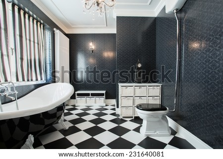 Photo of modern white and black bathroom - stock photo