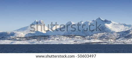 Photo of mountains North of the Polar Circle - stock photo