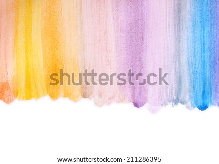 photo of multicolor watercolor stripes. hand made. - stock photo