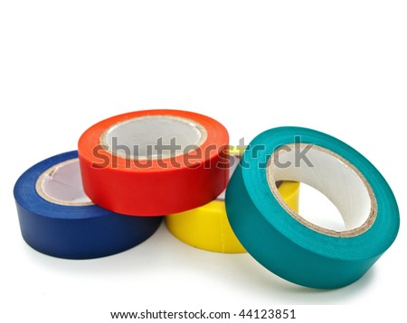 Photo of multicolored insulating tapes against the white background